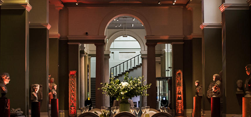 The Ashmolean Sculpture Gallery decorated for a large Christmas party