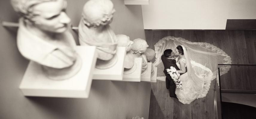 wedding couple staircase cast bust sculptures