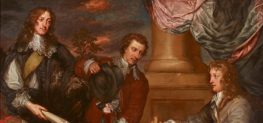 Portrait of Prince Rupert, Colonel William Legge and Colonel John Russel by William Dobson