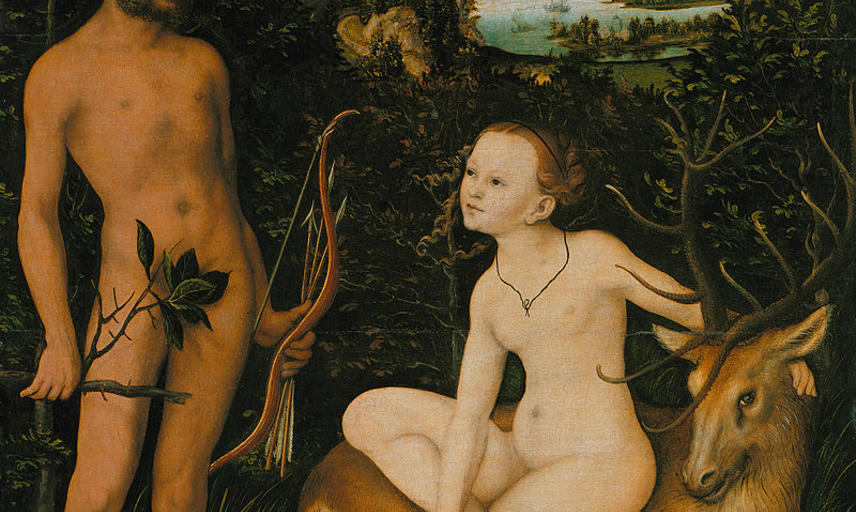 Painting by Lucas Cranach of Apollo and Diana
