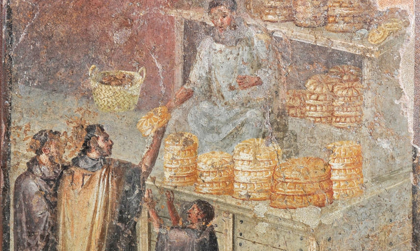 A fresco showing men buying bread.