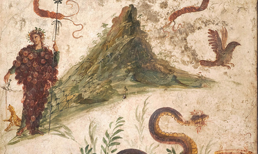 Fresco depicting Bacchus covered in grapes standing by Mount Vesuvius