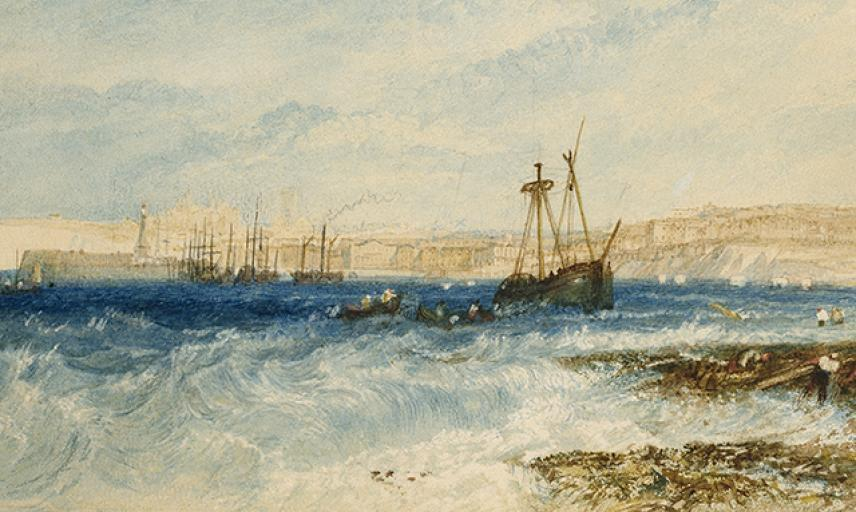 Watercolour of ships by Turner.