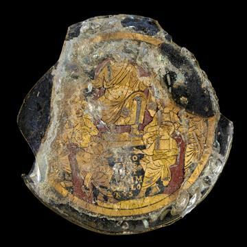 Gold-glass dish showing a depiction of Christ