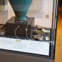 Sensors recording vibration data installed inside a showcase at the Ashmolean Museum